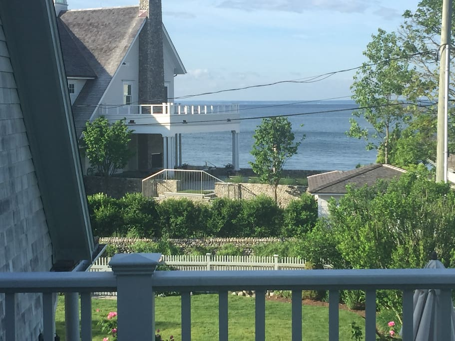Overlooking LI Sound, facing south, from the master bedroom deck.