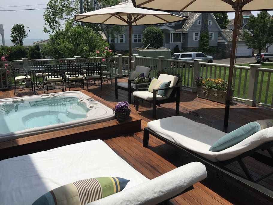 Lounge chairs, facing the LI Sound on the deck. Relax in the spa after a day at the beach.