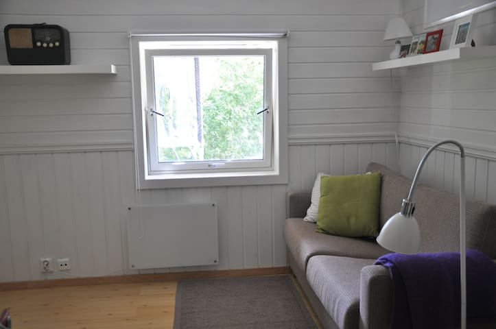 Hyggelig oppholdsrom med sofa som kan gjøres om til god dobbeltseng