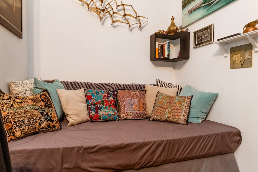 Nook with pillows from a recent trip to Udaipur, India