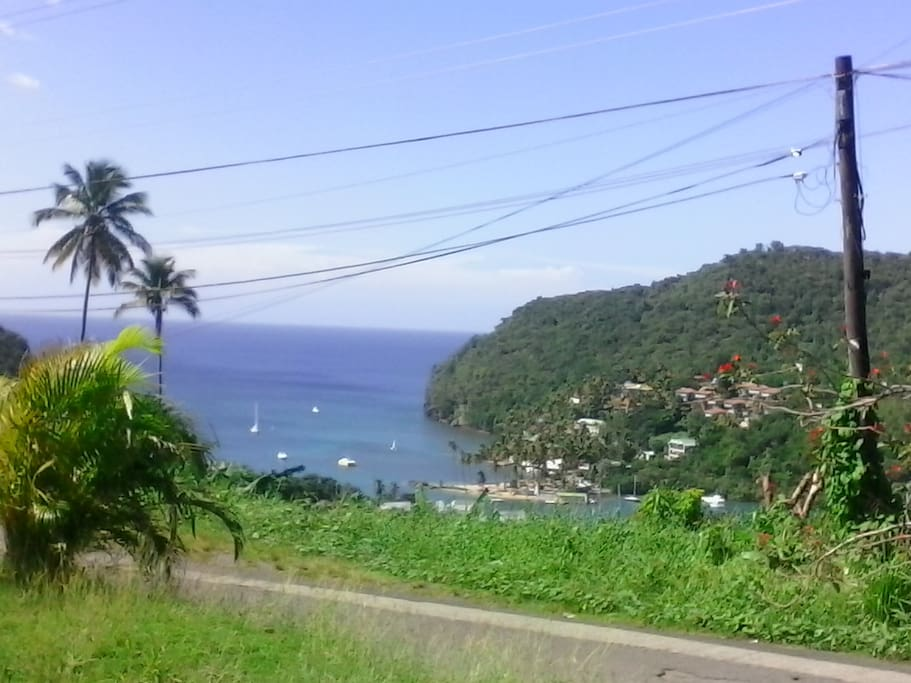 View from the front of main house showing Marigot Bay