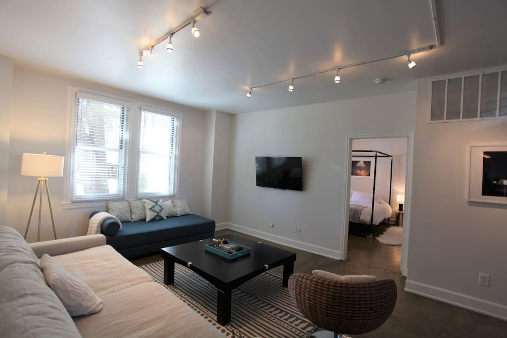 Living room with wall mounted flat screen