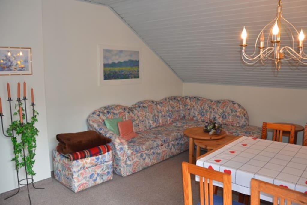 Wohnzimmer mit geräumiger Couch  (extra Schlafplatz)