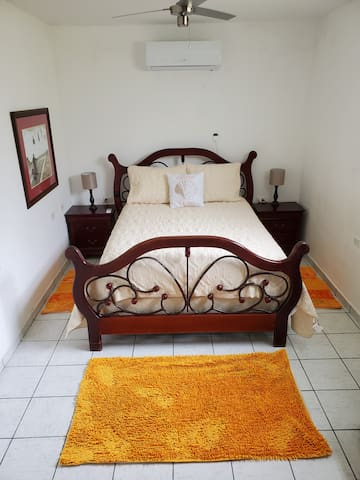 Main Room with a Queen Bed and Air Conditioning.