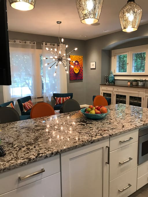 You will love this incredible kitchen. All terrific appliances, beautiful cabinets and great touches. I was lucky to have a brilliant designer create this space for my family.