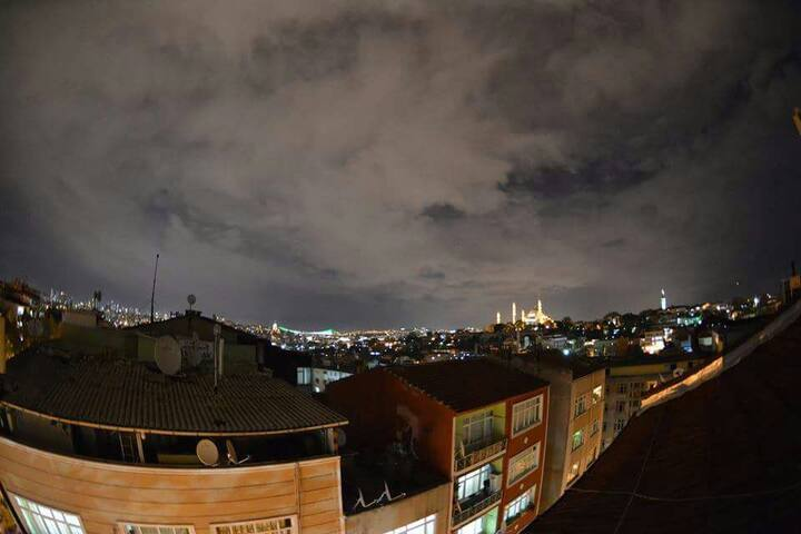 From terrace at night