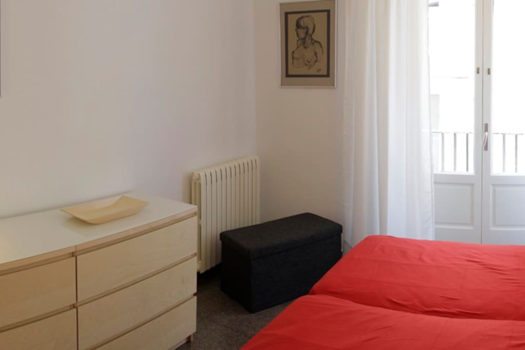 One of the double bedrooms (beds can be separated) with balcony. Both bedrooms are the same.
