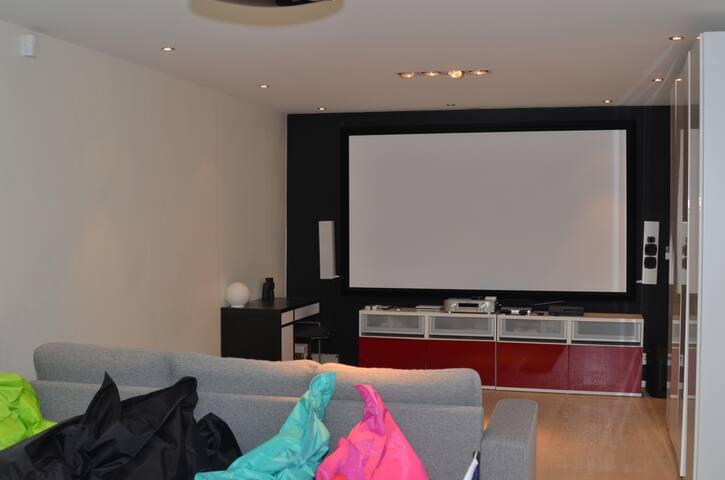 Giant TV screen floor 1 in bedroom