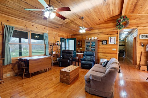 Modern log home in the Appalachian foothills