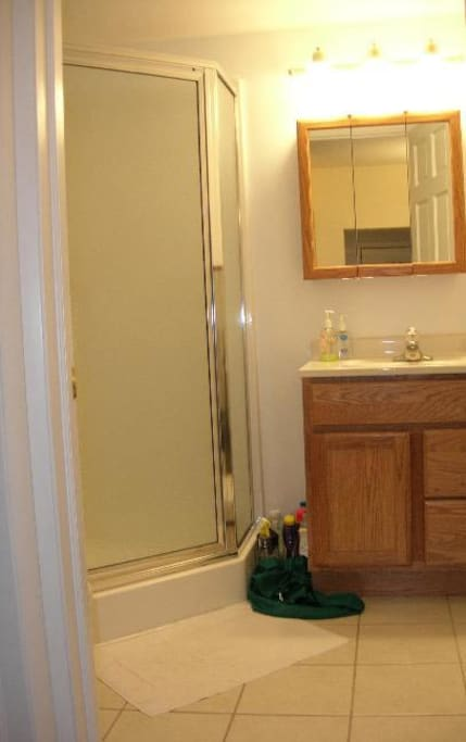 Newer bathroom with shower.