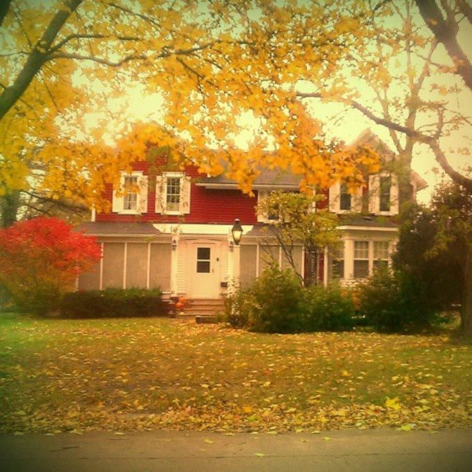 The Big Red Quilt House BnB in the fall.