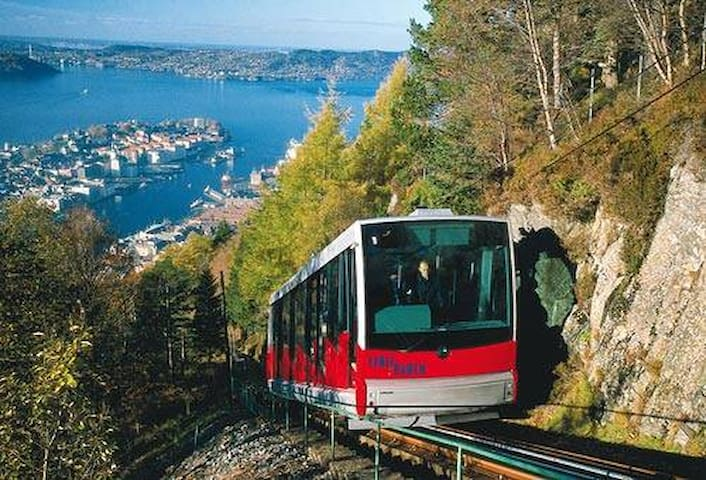 Funicular railway to Mt. Floien with Nordnes peninsula in background.