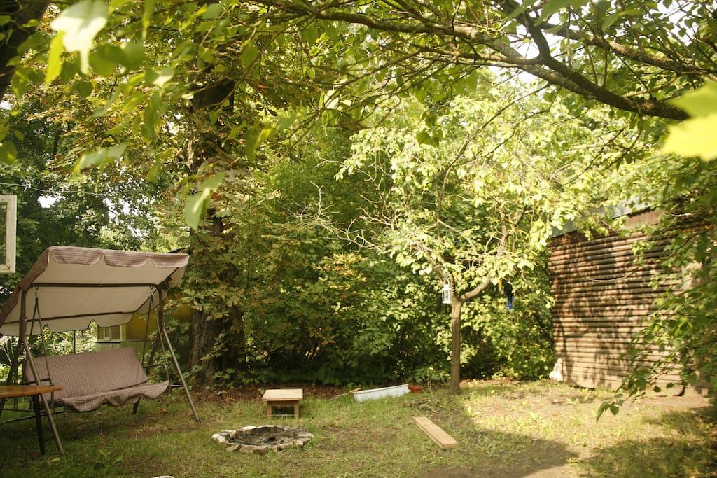 private garden + bonfire