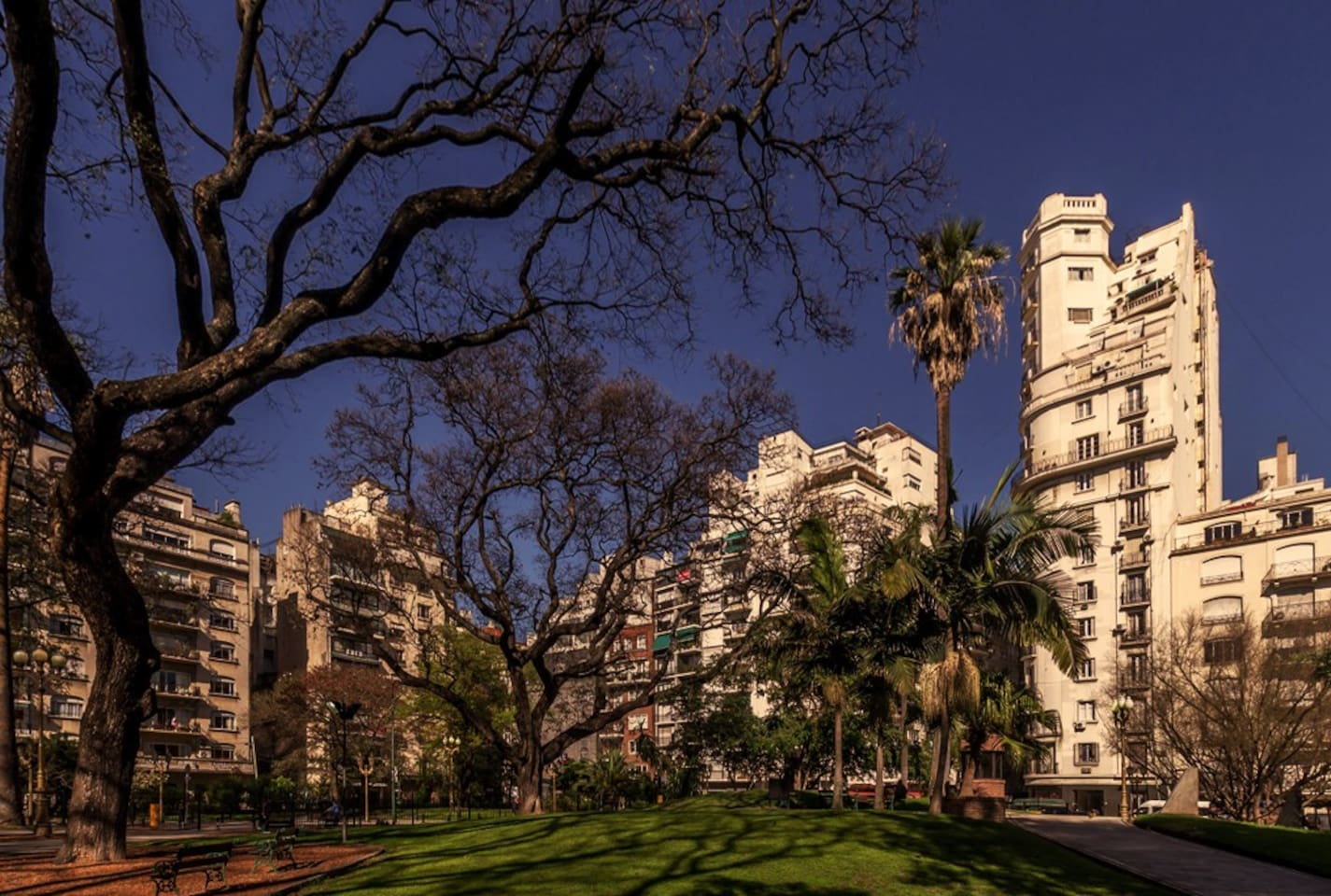7 blocks away: The lovely Plaza V. López. (Recoleta).