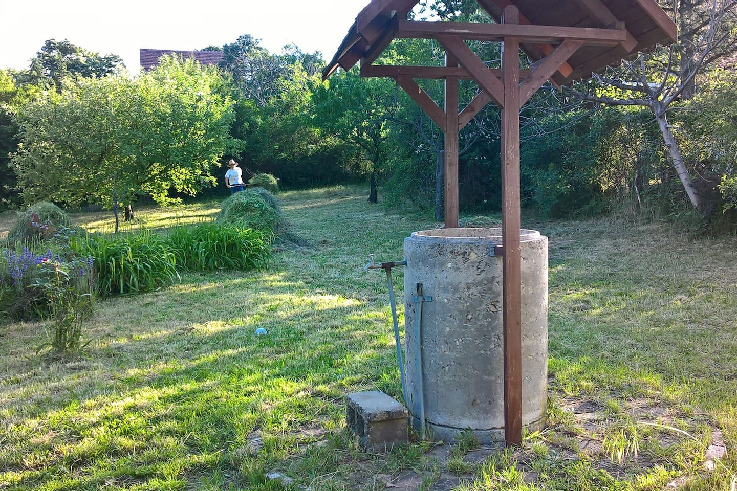 The hay collecting, and the well in front.