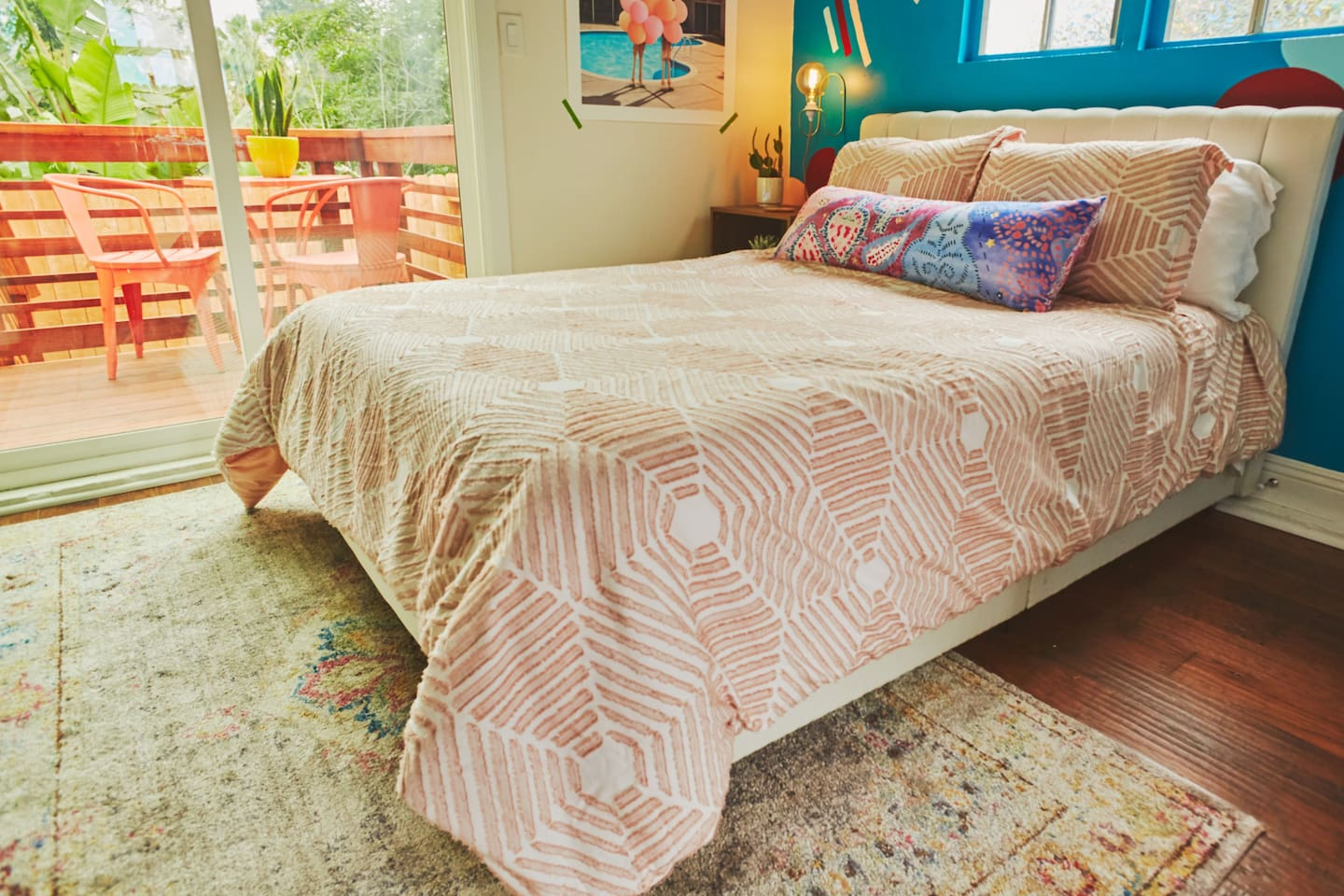 Cotton sheets on a memory foam mattress. Sliding glass door gives access to your own private deck.
