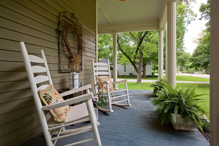 Front Porch facing the quiet street. This is our favorite place to relax. Enjoy the charm of the historical neighborhood and friendly neighbors.