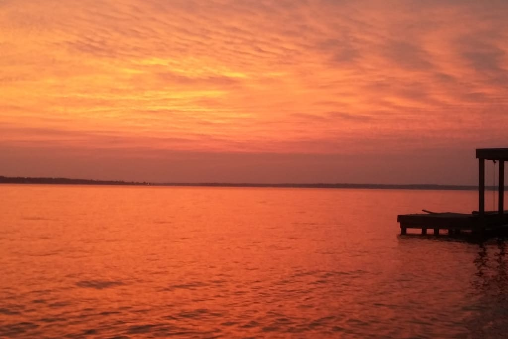 LAKE AT SUNSET FROM THE BACK YARD!