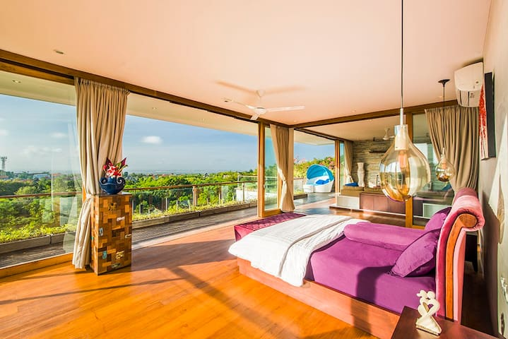 Master Bedroom on the 2nd floor with super king size bed and stunning views over Jimbaran Bay