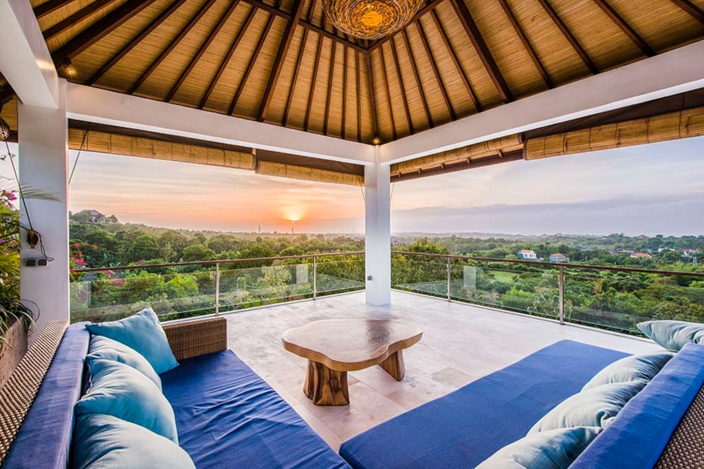 Roof Top Bale with panoramic views over Jimbaran Bay and the GWK Cultural Park. Excellent place to watch the sun set over the island of Bali. On a clear day the mountain ranges of Bali can be seen and at night time the lights of the airport
