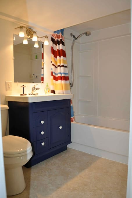 Bathroom with shower and tub.  Watch your head, this bath has a lower ceiling
