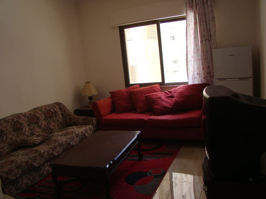 Living room with AC, TV and fridge