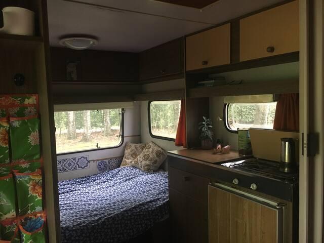 Off grid caravan in bosgebied met permacultuurtuin
