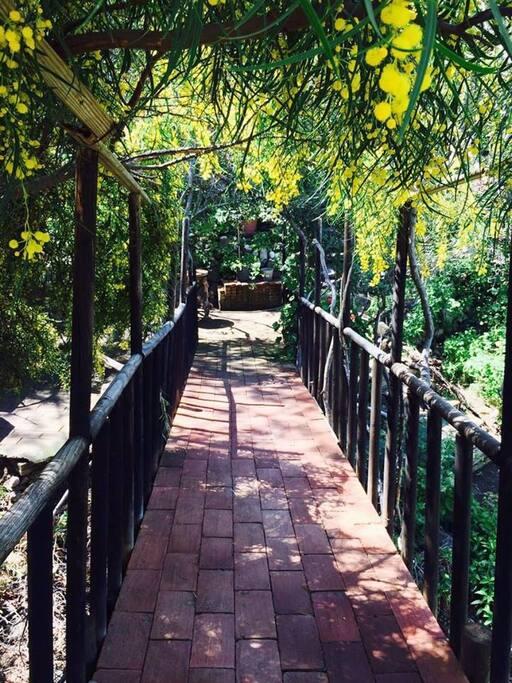 Entrada de puente en Casa Gardenia