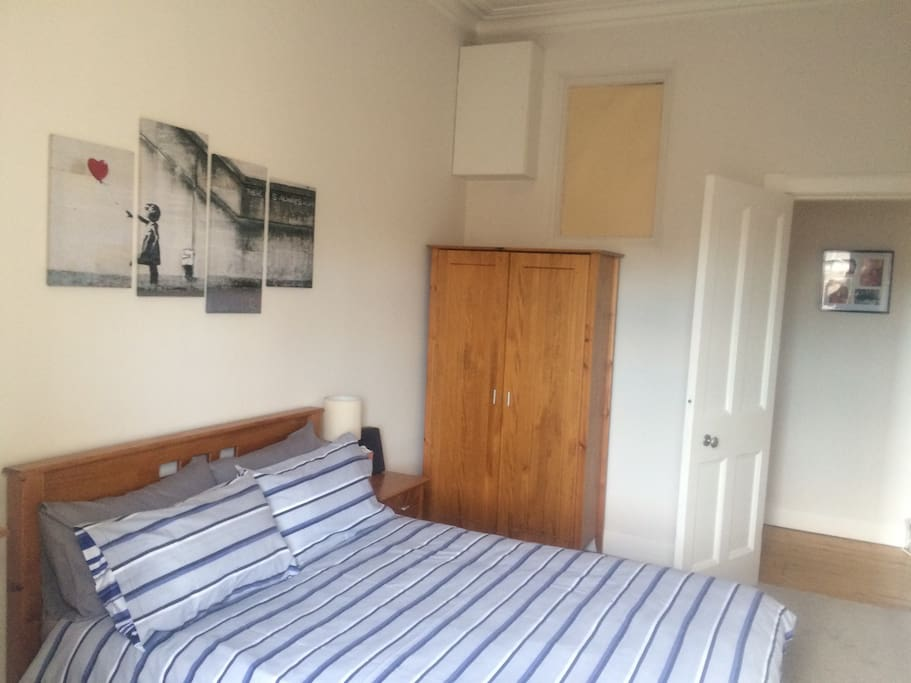 Very comfy double bed with wardrobe and chest of drawers