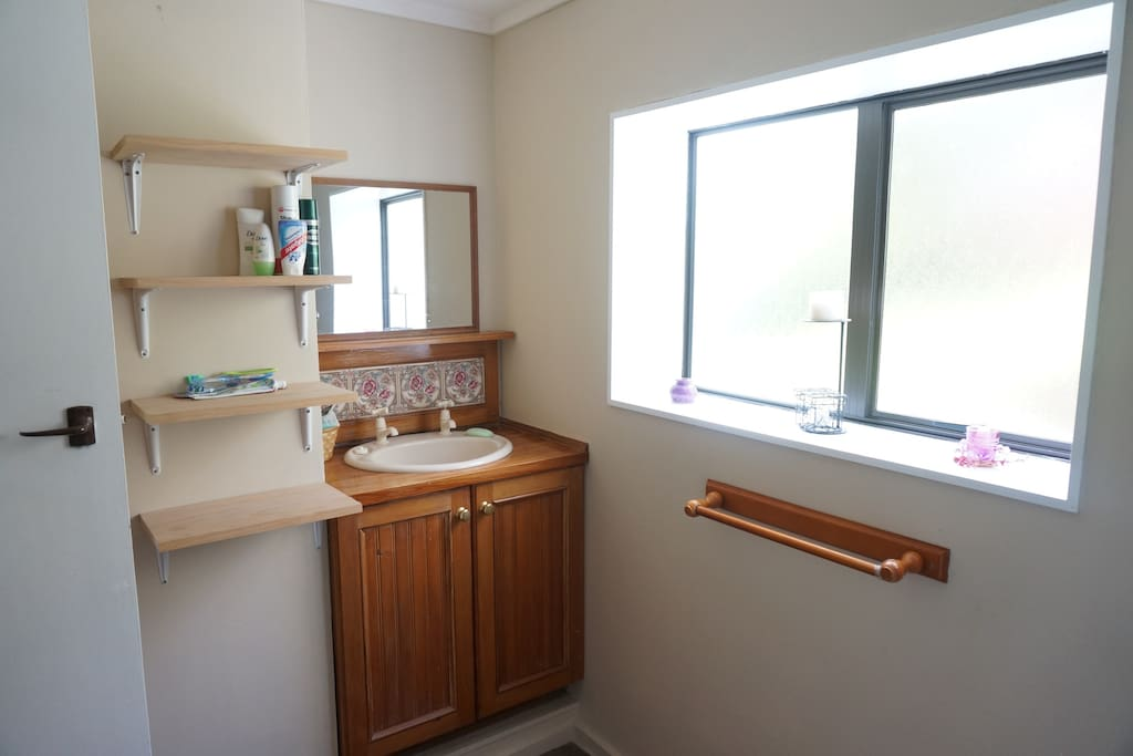 Bathroom- sink, shower, toilet. Will be all your's unless there are other guests