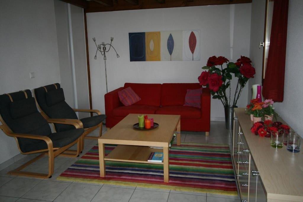 Gezellige zitkamer met flatscreen tv