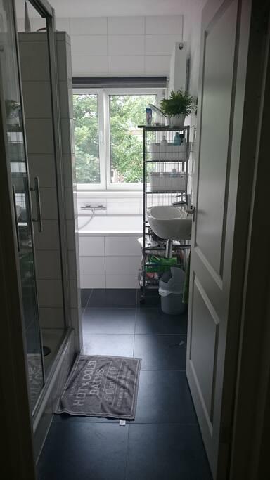Dit is de badkamer met aparte douche, bad, wastafel en toilet.