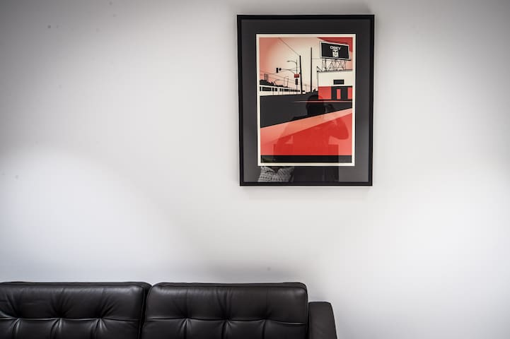 Beautifully furnished with original artwork - this one is by prominent LA artist Shepard Fairey.