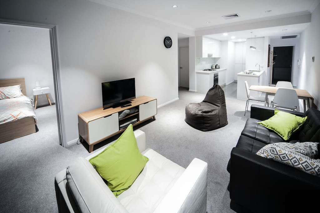 Open plan living area, not that you will need the TV with all there is to do in the surrounding streets!