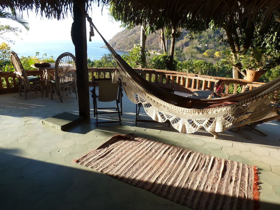 Hammock and view of Bay of Yelapa from front terrace of main Sala