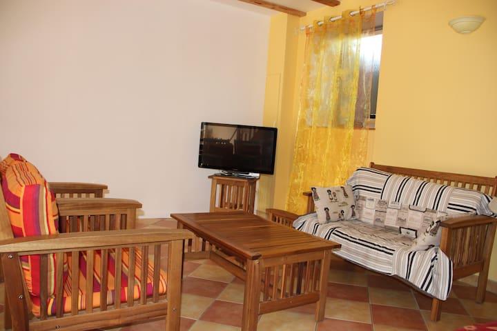 Salon avec TV et poêle à granulés