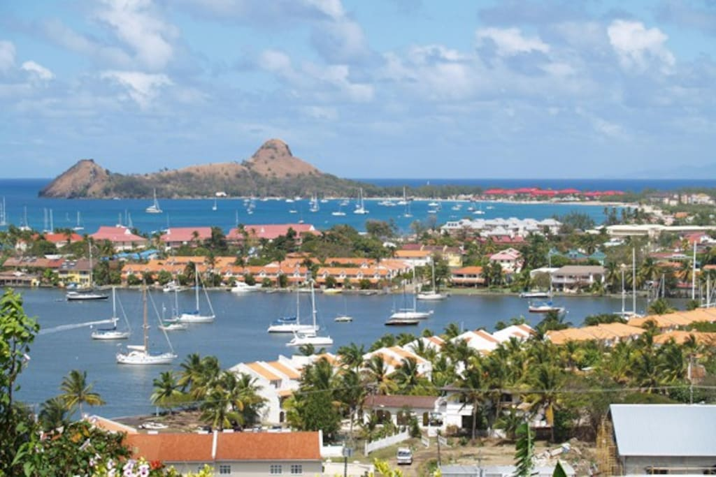 View of Rodney Bay Marina and Pigeon Island all with walking distance or a short drive from the house.