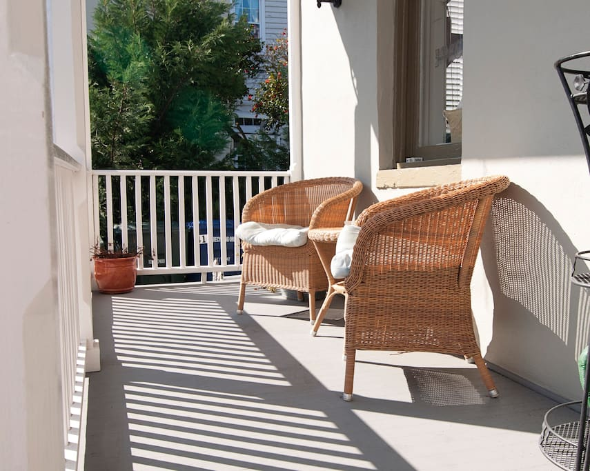 The porch and the garden area give you a place to relax, enjoy breakfast or an afternoon glass of wine.