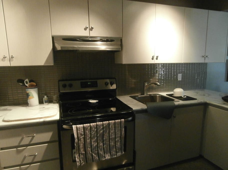 Renovated kitchen with stainless steel appliances
