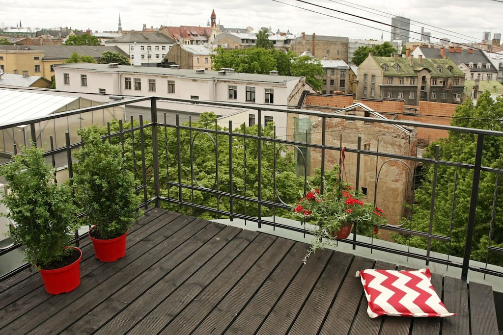 roof terrace with an Old town view