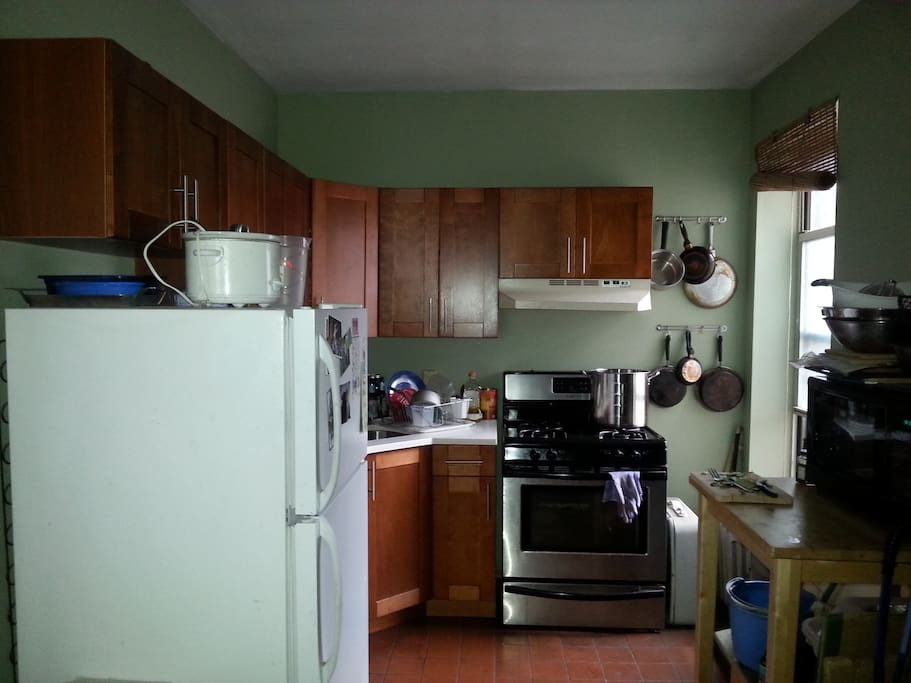 Our (frankly over-) stocked kitchen. We have a rice cooker and, I think, 3 crock pots. And all the stuff you'd expect.
