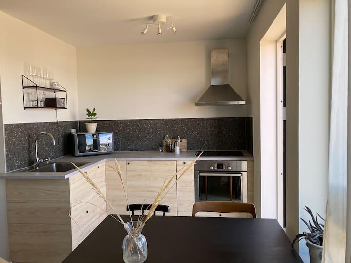 Nyrenoverad lägenhet med egen uteplats