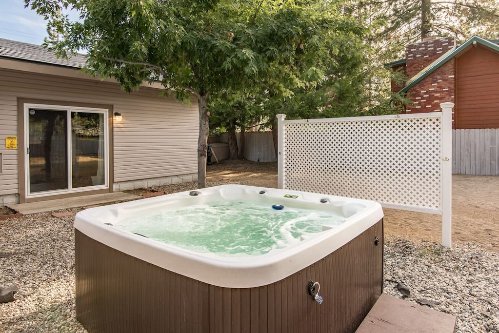 Soothe aching muscles in the private hot tub