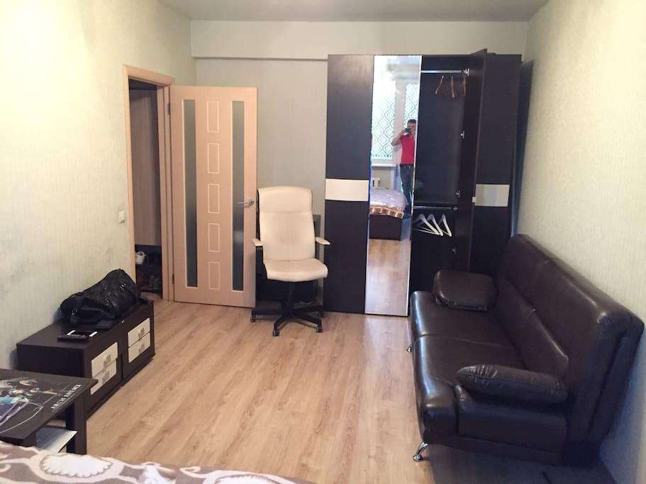 Room with big bed (for two persons) and sofa, transforming to bed ( 2 persons).