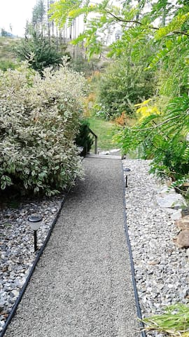 Walk way to private entrance.