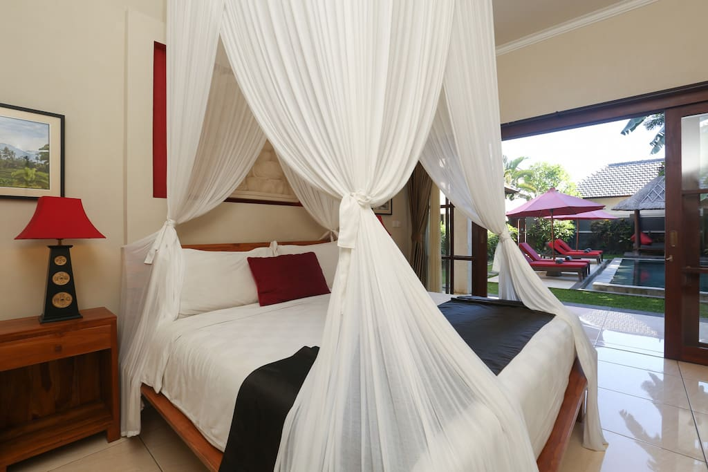 Mosquito draped King Koil bedrooms