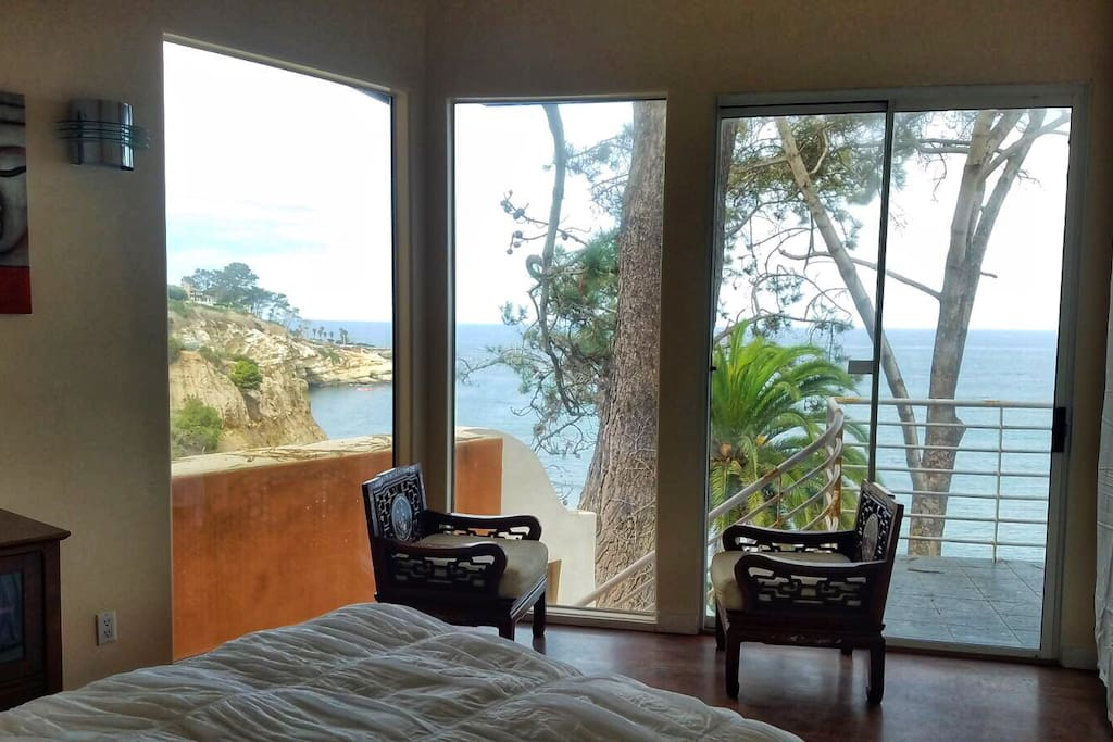 Bedroom ocean front with a patio