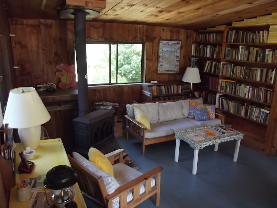 Shiplap-paneled living room with painted floors, woodstove & tons of books.