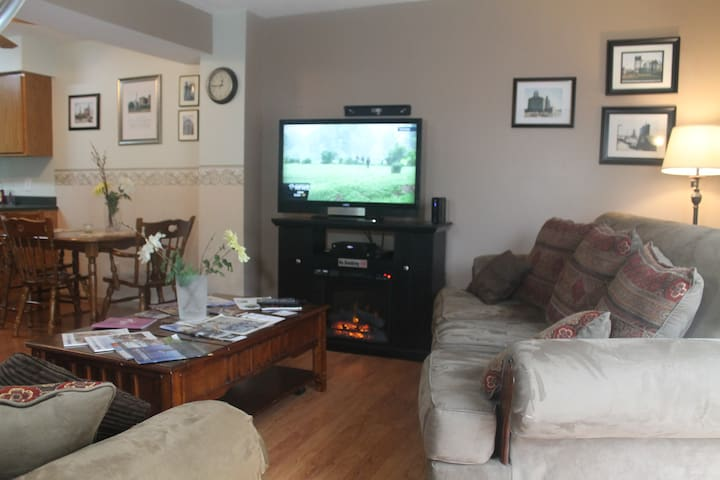 Fireplace and large screen HDTV entertainment area