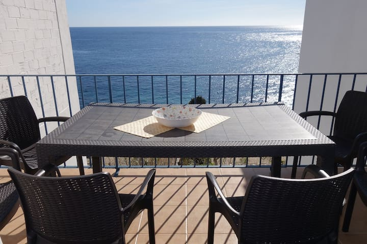 Magnificent Duplex on the seafront, seen on the beach of Port-Pelegri. It consists on the